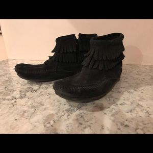 Minnetonka black suede booties